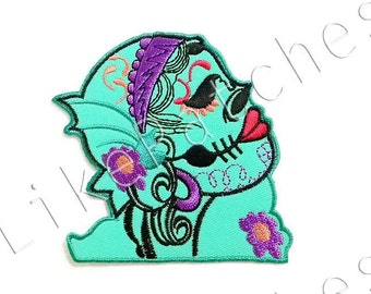 Beauty Skull Green Pastel Color New Iron On Patch Embroidered Applique Size 9.2cm.x8.7cm.