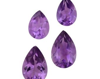 African Amethyst Pear Cut Loose Gemstones Set of 4 1A Quality 2-7x5mm 2-9x6mm TGW 3.30 cts.