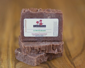 Lemongrass Essential Oil Rosehips Rose Clay Detoxifying Organic Shea Butter Avocado Oil Vegan Face and Body Soap