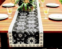 Embroidery snowflake star reversible dining custom table runner – Christmas wedding woven 14x96 tablecloth – Party table top dinner runner