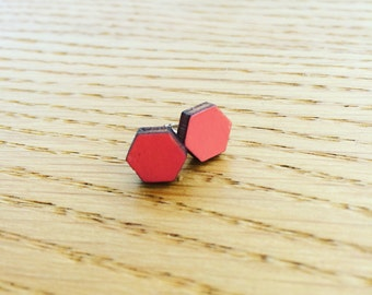 Coral Hexagonal Wood and Sterling Silver Earrings