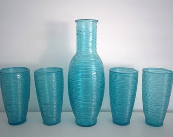 4 AQUA/TURQUOISE textured glasses and carafe - as new