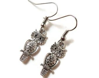 Silver Owl Earrings, Owl Jewelry, Owl Charm Earrings, Charm Jewelry, Bird Earrings, Teen Jewelry, Gifts Under 5 Dollars, Women's Gift Idea