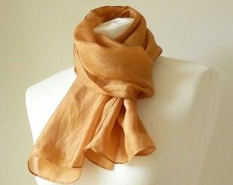 burnt orange silk scarf burnt orange scarf natural dye scarf eco friendly hand dyed scarf warm orange silk scarf deep orange summer silk