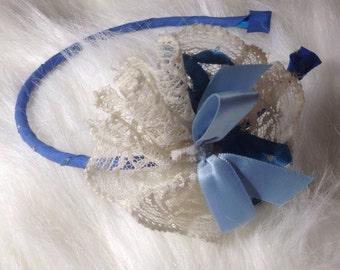 Headband, blue, lace, ribbon