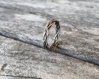 Narrow Celtic braid ring in sterling