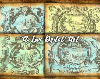 Instant download, Ancient Cartouches digital collage sheet, vintage ephemera digital images, gift tags printable, aceo cards, greeting cards