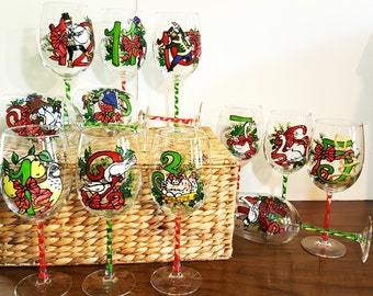 Wine Glasses- Hand Painted -  12 Days of Christmas Wine Glasses (Set of 12)