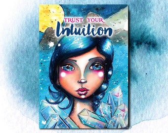 Art Print - Mixed Media Watercolor - Trust your Intuition - Big Eye Girl - Clear Quartz Crystal - Painting