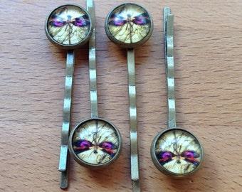 Antique brass bronze daragonfly hair pins