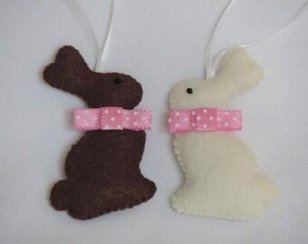 Chocolate Bunnies, Easter Bunnies, Easter Ornaments, Bunny Ornaments, Felt Bunny, Chocolate Bunny Set, Felt Ornament Set, Easter Gift Set