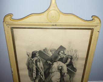 Religious Art – 13 Antique Christ Cross Road French engravings – wood frame – late 19th Cent