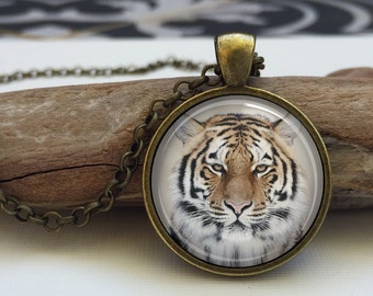 Tiger Necklace . Animal Jewelry Art Pendant.(Tiger #3)