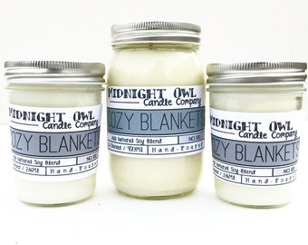 Cozy Blankets Candle 8oz or 16oz- Scented Soy Candle, most popular, fall candles, scented soy, Mason Jar Candle - Midnight Owl Candle Co