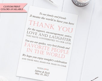 Wedding Reception Thank You Card (10) - Reception cards - To our family and friends - Wedding thank you cards
