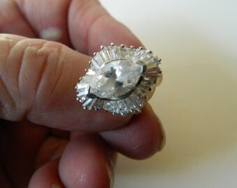 cut crystal-sterling ring