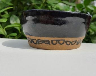 Bowl Small Ceramic with Black Glasses