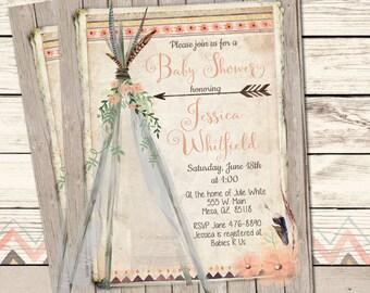 Boho Baby Shower Invitation, Peach, Teepee, Tribal Baby Shower Invite, Watercolor Flowers Invite, Rustic, Printable Invitation, 5x7
