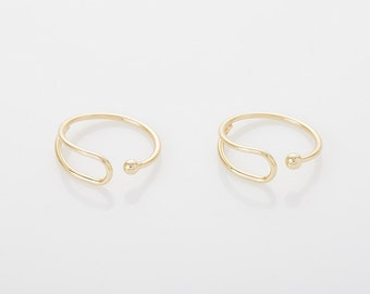 Open Ring (size adjustable) Polished Gold Plated over brass - 1 Piece [RG0013-PG]