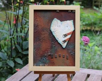 Mixed media - original art - rust & patina - stone heart - canvas