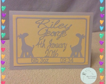 Personialsed New Baby A5 papercut card