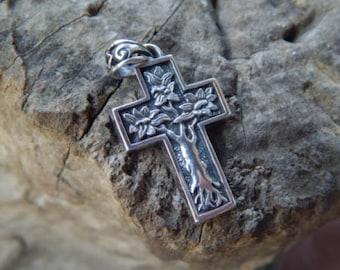 Silver cross pendant tree motif