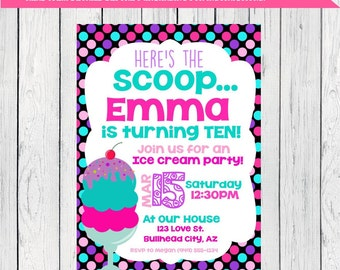 Ice Cream Party: Personalized birthday invitation- ***Digital File*** (ice crm-polka)