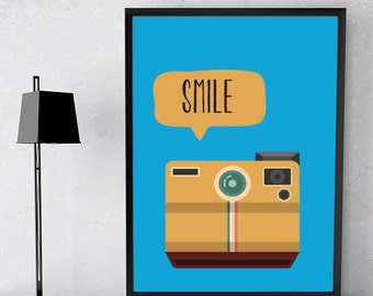 Smile , Say Cheese Retro Inspirational Motivational Word Art Print Poster A4 A3