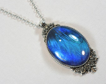 Real Blue Morpho Butterfly Wing Pendant Statement Necklace Antique Silver Roses