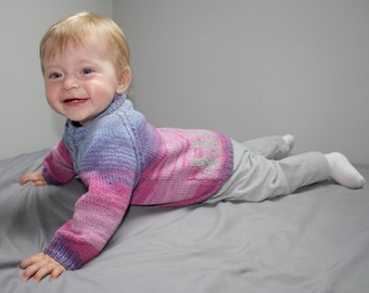 """Blue and pink sweater hand made for 12-18 months old child, size 86, organic cotton, """"Happy kids"""""""