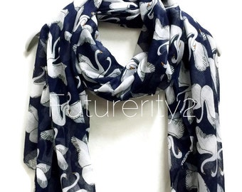 White Swan Navy Blue Scarf / Spring Summer Scarf / Autumn Scarf / Gifts For Her / Accessories / Women svarves