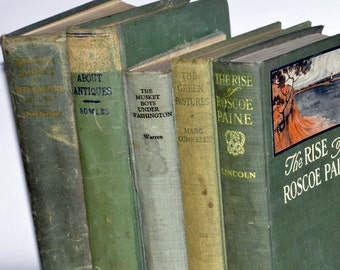 Old Green Books. Antique Book Collection. Green Book Decor. Stack of Books. Book Stack. Old Book Bundle. Library Decor. Old Books. Edwardian