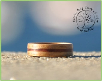 Australian black wood with jarrah inlay. Wooden jewellery. For man and woman. Wooden ring.