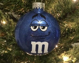 Blue M&M Christmas Ornament