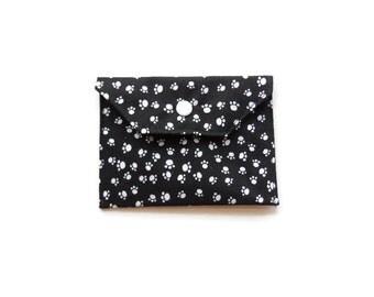Handmade Fabric Mini Wallet/Card Holder - Paw Prints