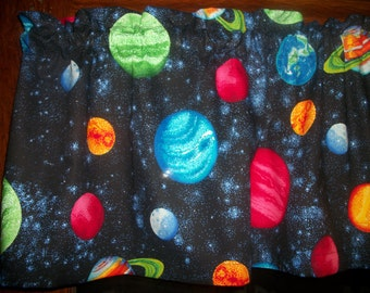 Planets Solar System Space boys bedroom fabric curtain Valance