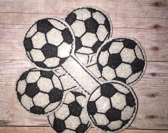 Set of 2 Soccer ball Felties Balls Flowers Vinyl Feltie Felt Embellishment Bow! Felties Applique Party Sports Flip Flops Sport Clips
