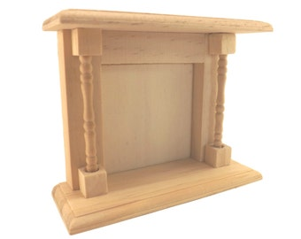 FREE SHIPPING! Miniature Unfinished Wood Fireplace for Dollhouse / Shadow Box Crafts