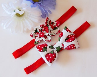 Strawberry Headband, Baby Headband, Bow Headband, Flower Headband, Red Headband, Girls Headband, Baby Bow Headband, Baby Flower Headband,