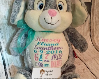 Personalized Bunny Cubby, personalized stuffed animals, custom cubbies, stuffed animals with name embroidered, newborn gift