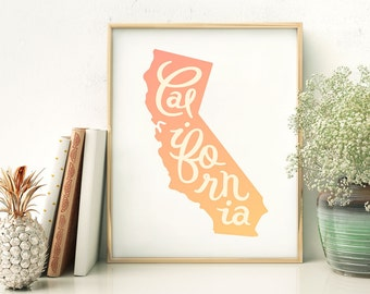 California print - California art - California poster - California wall art