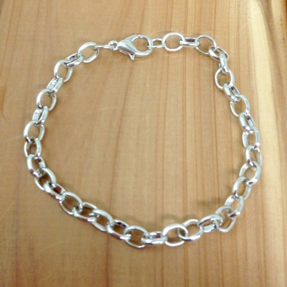 Design Your Own Custom Bangle Charm Bracelet Pick Your Charms: Silver Tone Chain Link Bracelet W