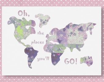704,Oh,the places you'll go,Dr Seuss,baby girl nursery art print,purlpe nursery,world map nursery,baby room decor