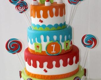 LOLLIPOP Candy Land Fake CAKE - Sweet 16 Fake Cake, Photo Shooting Cake, Event Decor Cake, Fake Wedding Cake, Fake Birthday Cake, Faux Cake