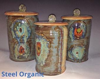 Handmade 6 inch Medium Ceramic Kitchen Canister