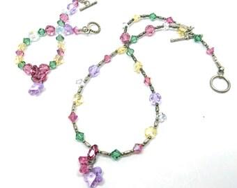 Vintage Crystal Jewelry Set - Rainbow Bracelet and Necklace - Boho Gift For Her - Boho Jewelry - Swarovski Crystals - Vintage 1980s Jewelry