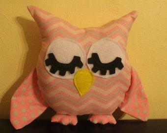 Pink and grey chevron/polka dot stuffed sleepy owl/room decor/pillow