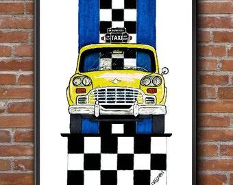 Classic Checker Taxi Art illustration print