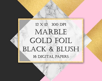Marble & Gold Foil Digital Paper -  blush, luxury, gold, geometric, triangles, modern backgrounds for scrapbooking, wedding invitation, blog