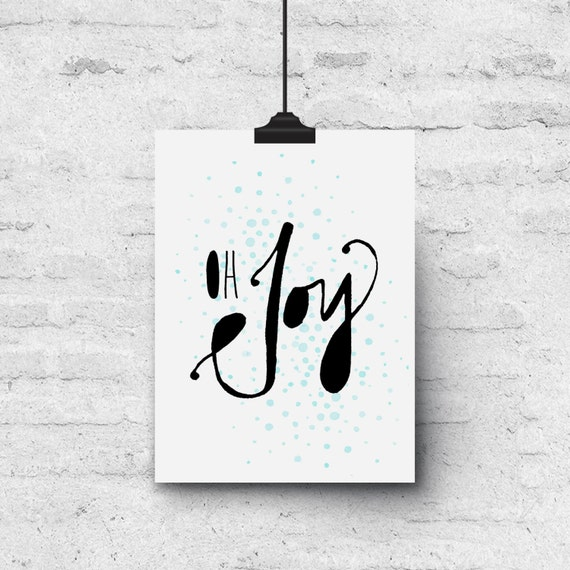 Oh Joy, Watercolor Caligraphy - Holiday Greeting Card